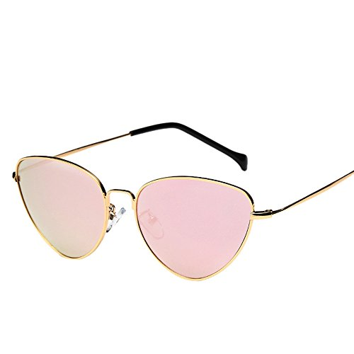 Unisex Fashion Sunglasses Hosamtel Summer Retro Cat Eye Shape Polarized Sunglasses Candy Colored Mirror Lens Travel Sunglasses Eyes Protection for Lady Women Girl Boy Men Gentleman (Rose - Coloured Sunglasses Rose