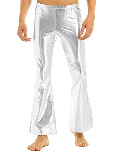 Boogie Nights Theme Party Costumes - inlzdz Men's Holographic Shiny Metallic PVC