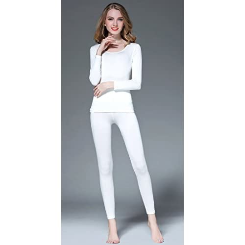 24ff66c5782e8 Vinconie Women Thermal Underwear Set Scoop Neck Long Sleeve Shirt & Leggings  Slim Base Layer Yoga