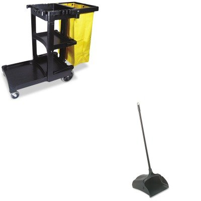 KITRCP253100BKRCP617388BK - Value Kit - Rubbermaid-Black Lobby Pro Upright Dust Pan, Open Style (RCP253100BK) and Rubbermaid Cleaning Cart with Zippered Yellow Vinyl Bag, Black (RCP617388BK) by Rubbermaid