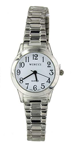 Women Silver Tone Stretch Band Easy to Read Watch ()
