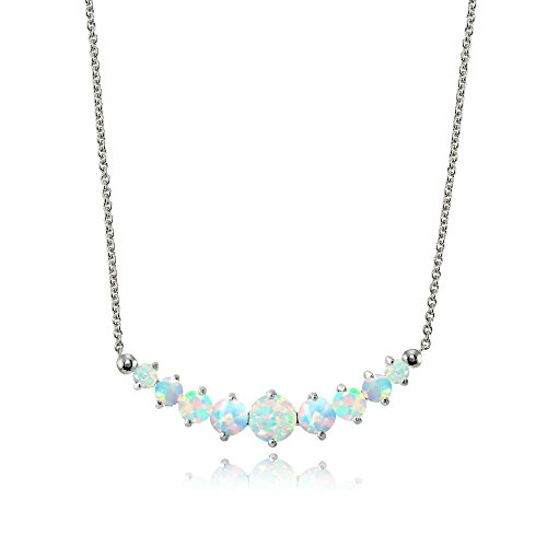 Lovve Sterling Silver Simulated Opal Small Dainty Journey Necklace with 18 Inch Chain, 3 Colors