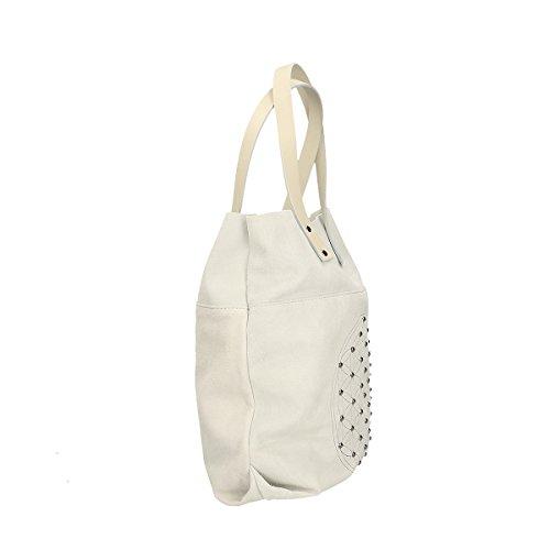 bandoulière Chicca à en sac cuir Blanc 33x39x10 véritable Borse Cm 6qwUrtq