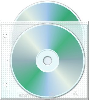 2 Hole Top Load CD/DVD Page, 5.625'' x 5'', 3.13'' hole spacing - Box of 800 by Univenture