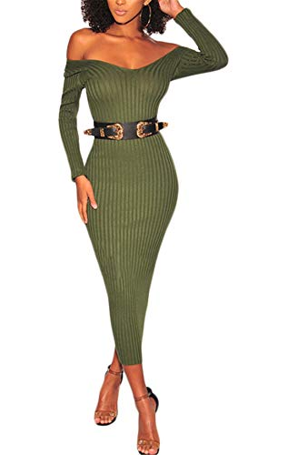 Womens Spring Autumn Sexy Off Shoulder Long Sleeve Deep V-Neck Backless Knitted Bandage Party Club Clubwear Long Sweater Dress Green L
