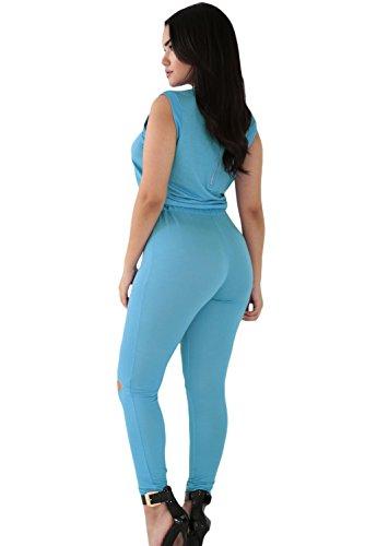Neue Damen Blau Reißverschluss Detail einteiligen Skinny Jumpsuit Catsuit Spielanzug Bodysuit Club Wear Kleidung Größe S UK 8�?0EU 36�?8