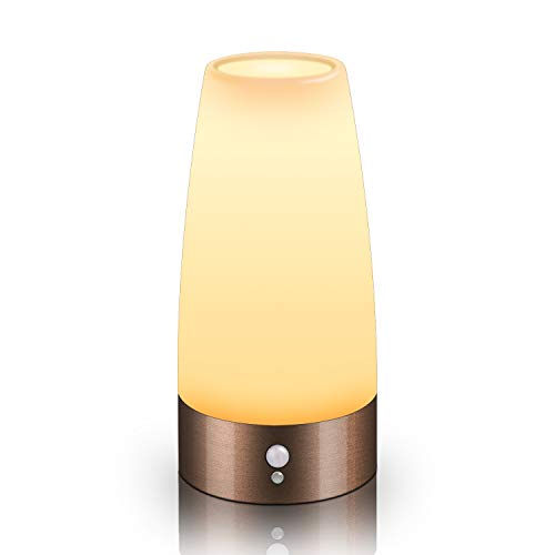 Motion Sensor Night Light, Battery Operated Lamp, Portable Wireless LED Table Bedside Desk Lights for Bedroom, Hallway, Bathroom, Kitchen, Living Room-Round Copper