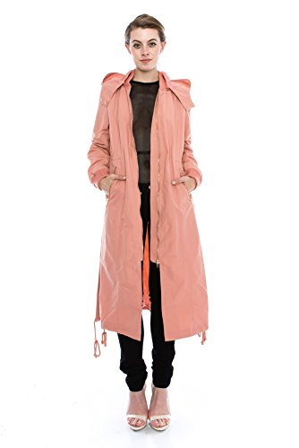 (Daisy Women's Zipper Pocket Detail Hooded Long Waterproof Jacket. (L, PEACH))