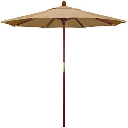 California Umbrella 7.5 Rd. Wooden Market Umbrella, Push Open Pin Stop , Sunbrella Linen Sesame