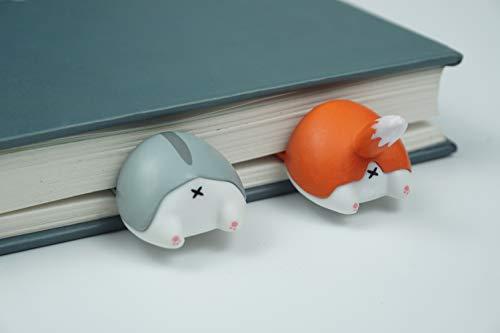 PVC Cute 3D Animal Butt Elasticity Bookmark 2pcs Cat/Corgi for Gift (Fox/Hamster)]()