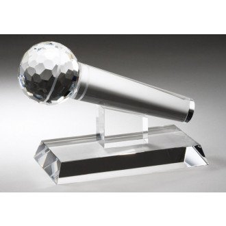 Crystal Microphone Award with Free Engraving (Customize -