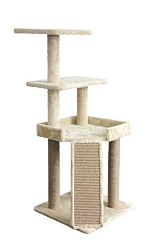 Ramp Kitty Scratching (AmazonBasics Medium Platform Cat Tree Tower With Scratching Post And Ramp - 25 x 22 x 26 Inches, Beige)