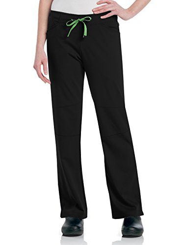 Urbane Women's Ultimate Silky Soft Stretch Medical Drawstring Scrub Pant, Black/Pear, X-Large - Lab Urbane