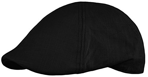 Deewang Men's Cool Summer duckbill IVY Cap, newsboy Pub Irish Hat, Golf Cap (Black, Small/Medium) (Pub Black Cap)