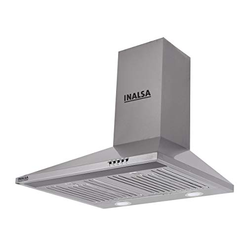 Inalsa 60 cm, 1050 m³/hr Pyramid Chimney Classica 60SSBF with SS Baffle Filter/Push Button Control (Grey)