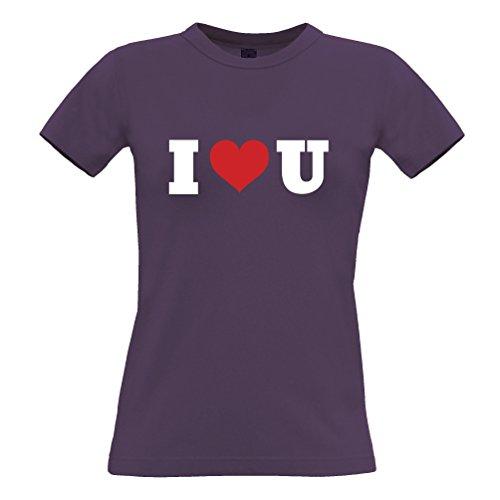 I Heart U San Valentino Day Special Slogan Stampato Citazione Design T-Shirt da Donna