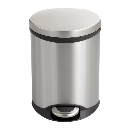 (Safco Products 9900SS Ellipse Step-On Trash Can, 1 1/2-Gallon, Stainless Steel)