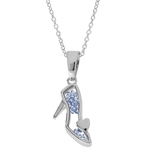 Disney Women's and Girls Jewelry Princess Sterling Silver Crystal Shoe Shaker Pendant,18