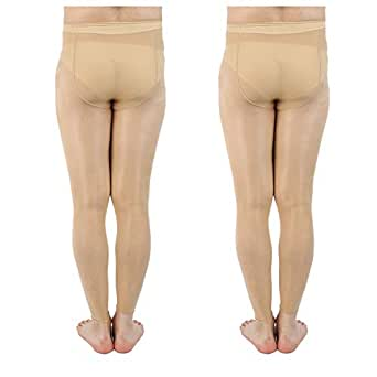 "Men Pantyhose Footless Tights Large Sheath Closed (L / 28"" - 38"", 2 Pairs - Beige)"