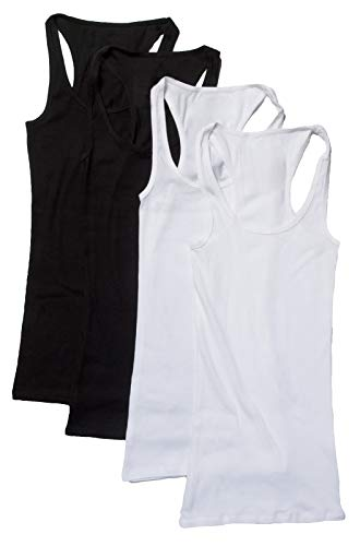 4 Pack Zenana Women's Basic Ribbed Tank Top Large Black, Black, White, White