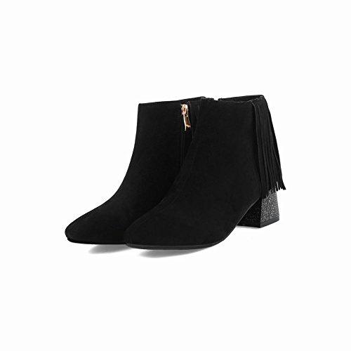 Carolbar Block Black Dress Mid Heel Women's Charm Tassels Short Elegant Boots rqRwrF