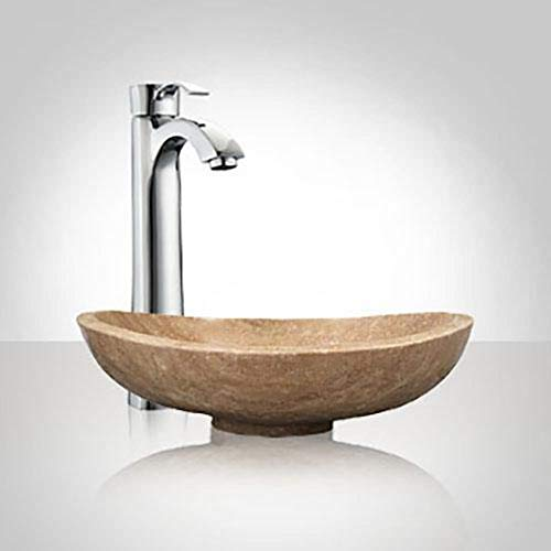 Simla Smooth Polished Beige Travertine Vessel Sink ()