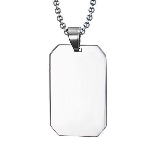 Free-Engraving Stainless Steel Mirror Polished Blank Square Dog Tag ID Pendant Necklace for People with Chain -