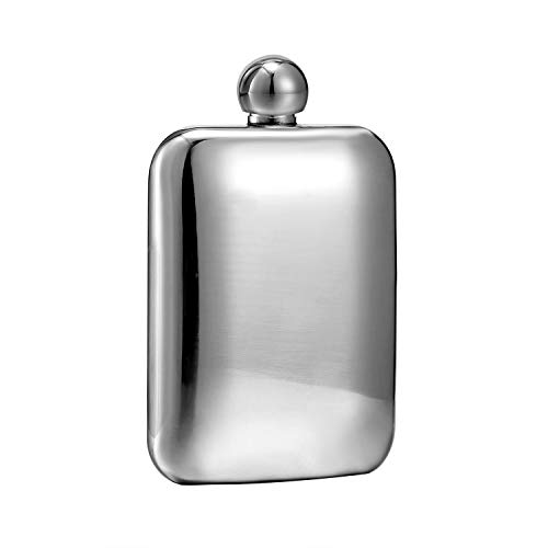 Booze Shot Flask- AB Crystal Lid Creative 304 Stainless Steel Wine Alcohol Liquor Flask for Women Girls Men Party Hand size Flask-6OZ (silver flask, 1) by Hillside-kit
