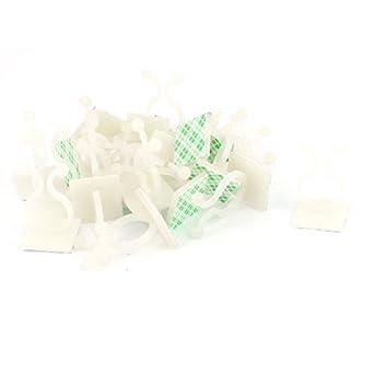 eDealMax 20 piezas de Nylon en Forma de U autoadhesivo Torsión Cerraduras Titular de Los Clips