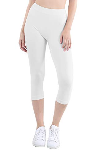 (NIKIBIKI Women Seamless Basic Capri Legging Tights, Made in U.S.A, One Size (White))