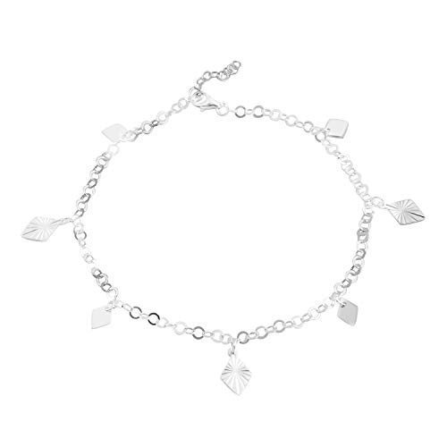 925 Sterling Silver Diamond Cut Charm Ankle Anklet Bracelet for Women Jewelry Gift 10