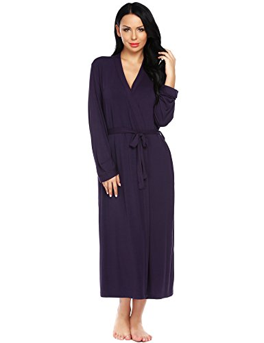 Ekouaer Bath Robes Womens Soft Knit Sleepwear Kimono Collar Long Loungwear S-XXL (X-Large, Purple)