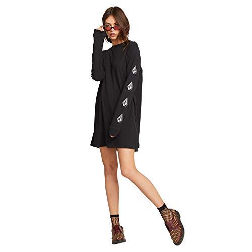 Volcom Junior's Women's What A Trip Long Sleeve Tee Dress, Black, Large