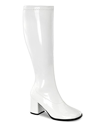 Womens Knee High Boots White GOGO 3 Inch WIDE CALF Sexy Block Heel Knee Boot Pat Size: 6 -