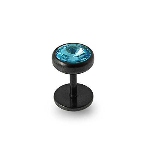8mm Aquamarine Crystal Flat Top with 316L Surgical Steel Black IP Dome Dumbbell Fake Plugs Body (316l Surgical Steel Top)