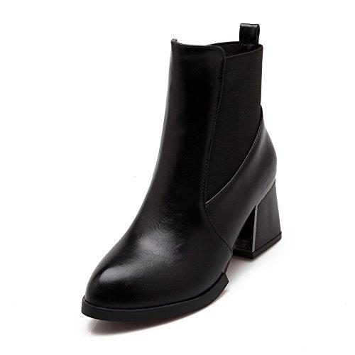 Black Kitten Toe Heels PU Solid Low Closed Women's Boots top Round AgooLar Pxq1wT1