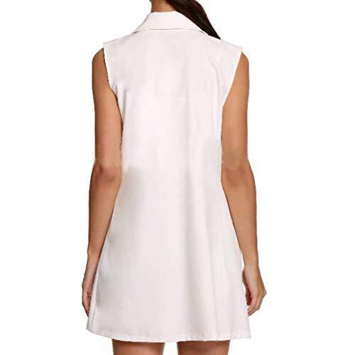 Solapa Blanco Exteriores Sin Mujer Elegante Bolsillos Delanteros Colores Oeste Hipster Outerwear Huixin Chaleco Sólidos Otoño Prendas De Mangas Cómodo Modernas c8HAqUU