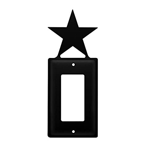 Iron Star Single Modern Switch Cover - Heavy Duty Metal Light Switch Cover, Electrical Outlet Covers, Lightswitch Covers, Wall Plate (Cast Iron Single Rocker)