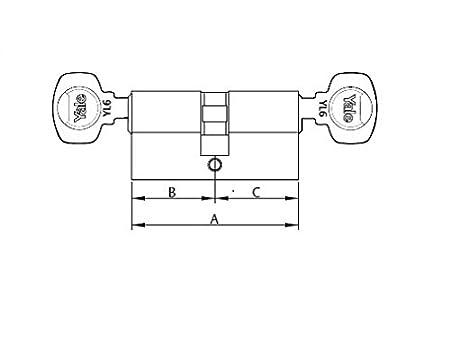 Leva Larga Cilindro de Seguridad YL64060HN 40 x 60 mm Niquelado Llave Yale YL6 Llave