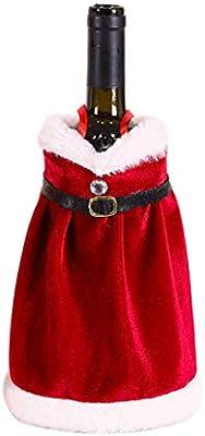 R-WEICHONG - Funda para botella de vino tinto de Navidad, falda de ...