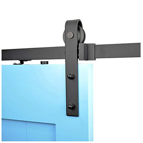 - DIYHD 6.6FT Rustic Black Sliding Barn Door Hardware Track Kit-1 Side Soft Close Operation,