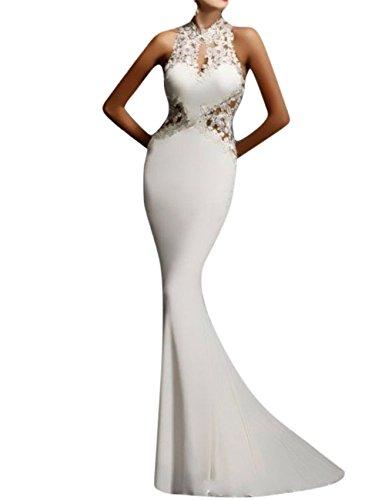 GlorySunshine Women's Sheath Sexy Lace Backless Mermaid Bridal Flare Dress (L, New White) (White Prom Dress Backless)