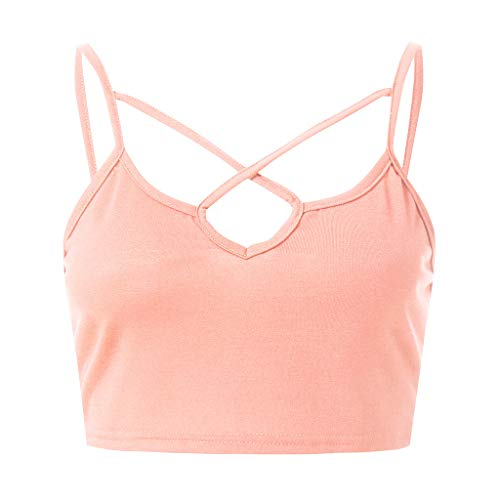 Camisole for Women Fashion,PASHY Women Tank Top Clothes Tank Sleeveless Crop Top Bra Backless Vest Tank Clothing (Pink,S) (Bra Underwired Skin)