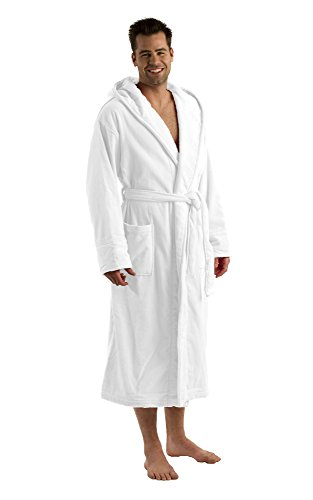 (Hooded Mens Robes Spa Bathrobes, Terry Cover up, One Size, White)