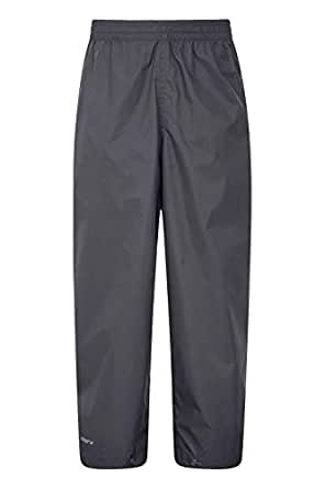 Mountain Warehouse Pakka Kids Waterproof Overtrousers - Taped Seams Trousers, Ankle Adjuster Pants, Breathable Childrens Pants - For Wet Weather & School Black 3-4
