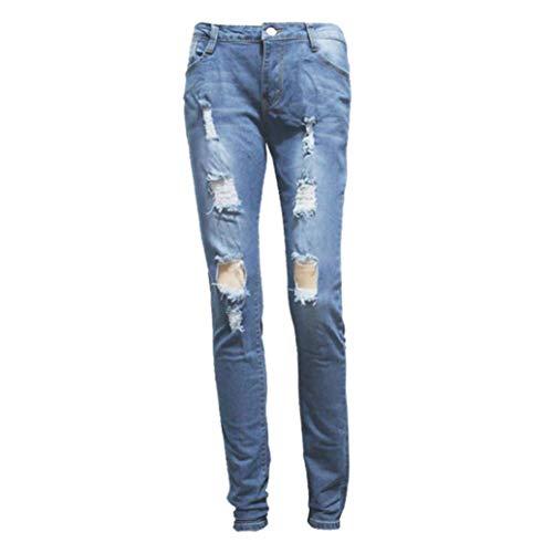 Wawer Pantalones Vaqueros para Mujer, Cintura Diaria, Ajustados, Vaqueros, Pantalones Ajustados, con Agujero elástico, Pantalones Vaqueros para Primavera/Verano/otoño/Invierno azul