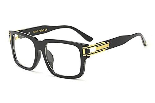 Allt Square Aviator Large Fashion Sunglasses For Men Women Goggle Alloy Frame Glasses (Black Gold/Clear (2), 53) (Fashion Square)