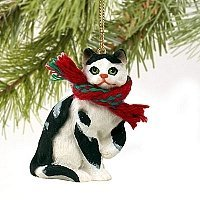 Tabby Cat Tiny One Christmas Ornament Black-White Shorthaired by Conversation Concepts (Black Tabby White Cats)