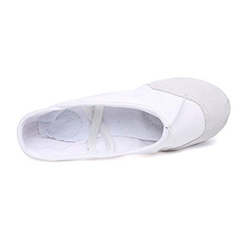 Labu Store Yoga Gym Flat Slippers White Pink White Black Canvas Ballet Dance Shoes For Girls Children Women Teacher by Labu Store (Image #3)