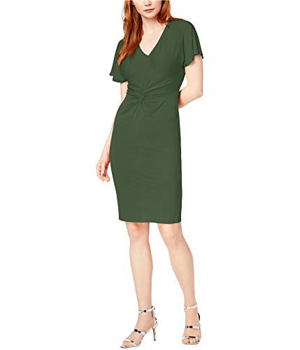 Bar III Women's Twist-Front Flutter-Sleeve Dress (Dusty Olive, X-Small) from Bar III